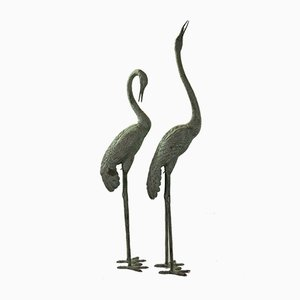 Bronze Crane Bird Sculptures, 1950s, Set of 2