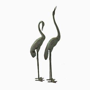 Kranich Vogel Bronzeskulpturen, 1950er, 2er Set