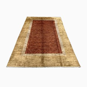 Afghan Beige, Red & Gold Natural Dyed Wool Rug, 1950s