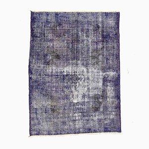 Vintage Turkish Distressed Blue & Black Wool Overdyed Rug, 1950s