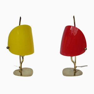 Yellow & Red Brass and Plexiglass Table Lamps, 1950s, Set of 2