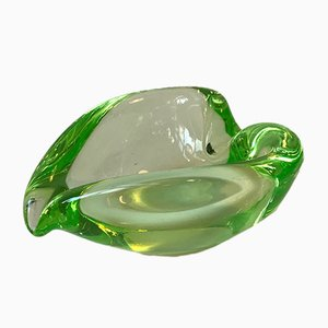 Green Murano Vaseline Glass Dish from Seguso, 1950s