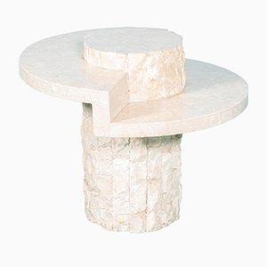 Vintage Round Travertine Coffee Table in the style of Marzio Cecchi