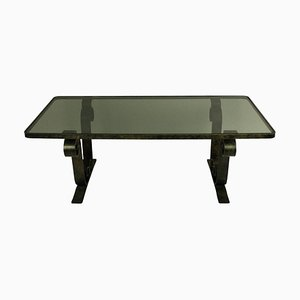 Industrial French Glass and Iron Coffee Table, 1960s
