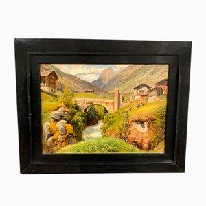 Paysage de Montagne, Huile sur Toile par Hermann Pohle