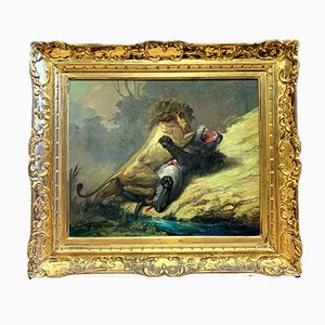 Lucha contra las bestias salvajes, óleo sobre lienzo de Lucienne Filippi, años 50