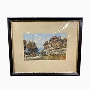 Lake Landscape, Oil on Canvas par Jean-Marc Dunant-Vallier