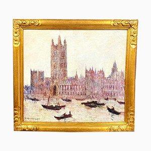 Veduta di Venezia, olio su tela di Van Der Bruggen, anni '40