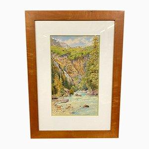 Veduta di Courmayeur Valle d'Aosta, olio su tela di John Hardwicke LEWIS