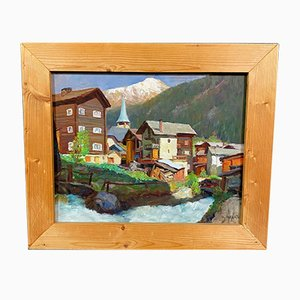Courmayeur Valle d'Aosta, olio su tela di Angelo Abrate, anni '30