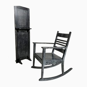 Rocking Chair & Travel Confessional from Baker and Co, 1930s, Set of 2