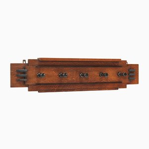 Art Deco Amsterdam School Oak Coat Rack, 1920s