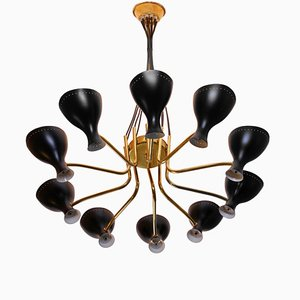 Large Italian Brass Chandelier by J. J. M. Hoogervorst for Anvia, 1950s