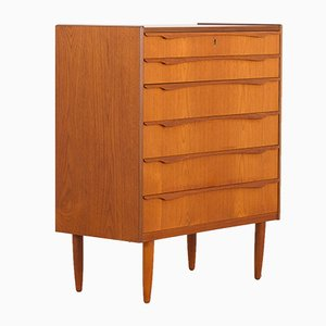 Danish Teak Chest of Drawers with Sculptural Handles, 1960s