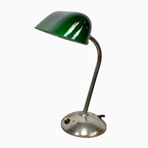Vintage Green Bank Lamp, 1930s