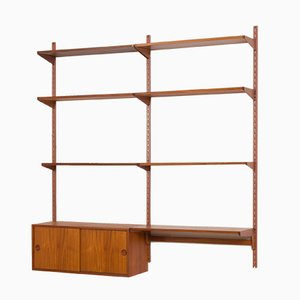 Danish Wall Unit with Small Desk & Cabinet in Teak by Kai Kristiansen for FM Møbler, 1960s
