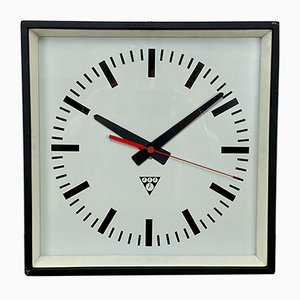 Horloge Murale Carrée Noire Industrielle de Pragotron, 1970s