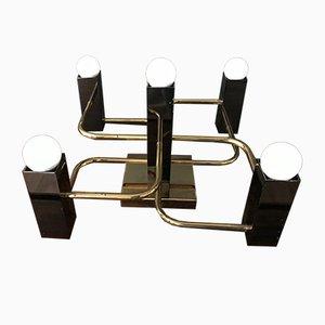 Schwarz und Gold Decken- oder Wandlampe von Gaetano Sciolari für Boulanger, 1970er