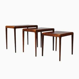 Tables Gigognes en Palissandre par Johannes Andersen pour CFC Silkeborg, 1950s, Set de 3