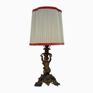 Vintage Gusseisen Tischlampe mit Putti Figurine