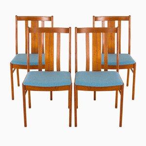 Dänische Mid-Century Teak & Blue Wool Esszimmerstühle von Folke Ohlsson für Dux, 1970er, 4er Set