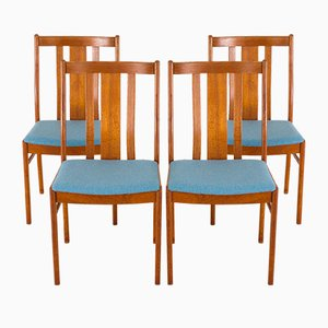 Mid-Century Danish Teak & Blue Wool Dining Chairs in the Style of Folke Ohlsson for Dux, 1970s, Set of 4
