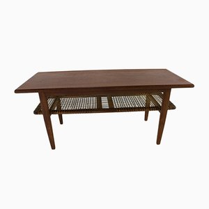 Danish Coffee Table with Rattan Layer, 1960s