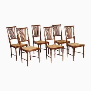 Walnut Dining Chairs with Straw Seats from Lavaggi, 1950s, Set of 6