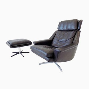 Model 802 Black Leather Chair with Ottoman by Werner Langenfeld for ESA, 1960s