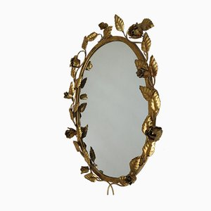 Oval Mirror with Foliage and Roses, 1960s
