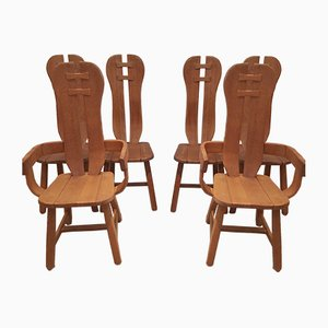Belgian Brutalist Dining Chairs from De Puyt, Set of 6