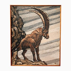 Vintage Painting of Mountain Ibex Goat