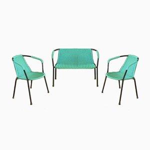 Banc et Chaises Vintage Vertes, 1960s, Set de 3