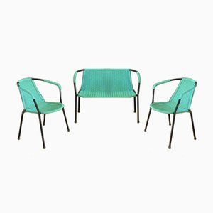 Vintage Green Bench & Chairs, 1960s, Set of 3