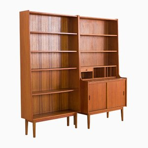 Danish Teak Wall Unit Bookcase with Secretaire in the Style of Johannes Sorth, 1970s, Set of 2