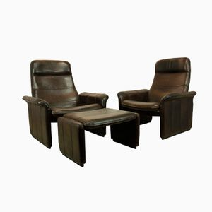 DS50 Chairs and Footstool from De Sede, Set of 3