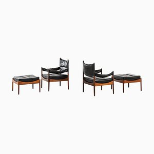 Rosewood Easy Chairs with Stools by Kristian Solmer Vedel for Søren Willadsen, 1963, Set of 4