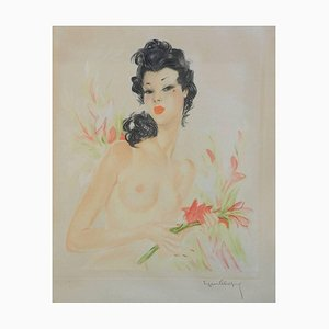 French Nude Contemporary of Domergue Lithograph by Eugene Leliepvre, 1930s