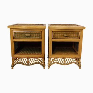 French Rattan Nightstands, 1990s, Set of 2