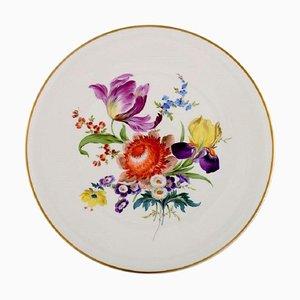 Großer runder Meissen Teller aus handbemaltem Porzellan mit Blumen