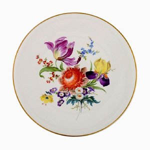 Large Round Meissen Dish in Hand-Painted Porcelain with Flowers