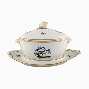 Large Royal Copenhagen Lidded Tureen with Saucer in Hand-Painted Porcelain