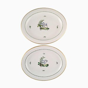 Large Oval Royal Copenhagen Serving Dishes in Hand-Painted Porcelain, Set of 2