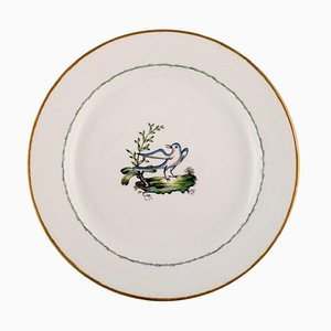 Large Round Royal Copenhagen Dish in Hand-Painted Porcelain with Bird Motif