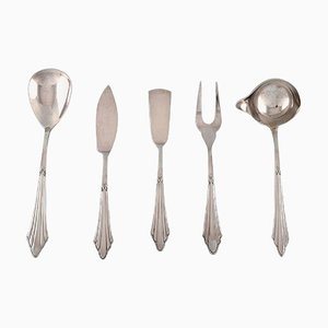 Art Deco Facker Serving Parts in Plated Silver from WMF, Germany, 1930s, Set of 5