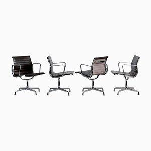 Brauner & Aluminium EA 108 Büro Drehstuhl von Charles & Ray Eames für Vitra, 1980er