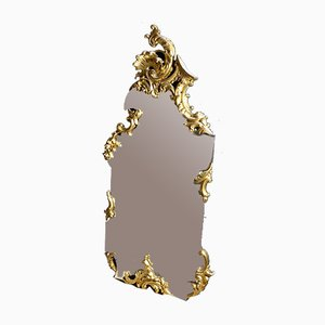 Large Vintage Gold Wooden Foot Mirror