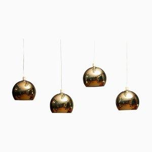 Swedish Brass Spherical Globe Shape Pendant Lamps, 1970s, Set of 5