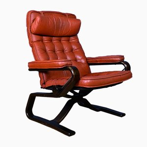 Mid-Century Norwegian Red Leather Stressless Reclining Chair from Ekornes