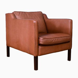 Mid-Century Danish Tan Brown Leather Lounge Chair from Stouby